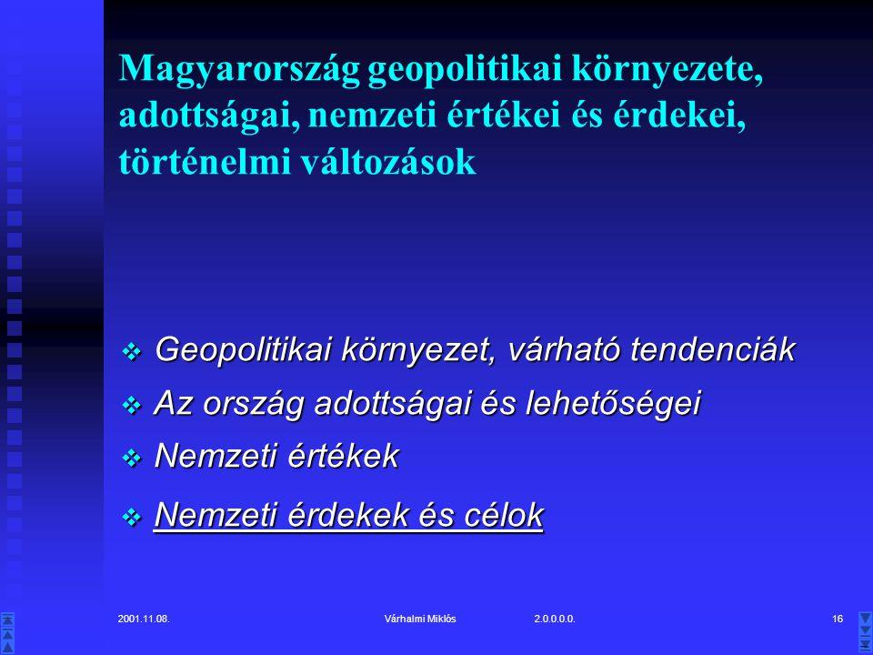 Magyarország geopolitikai környezete, adottságai, nemzeti értékei és érdekei, történelmi változások
