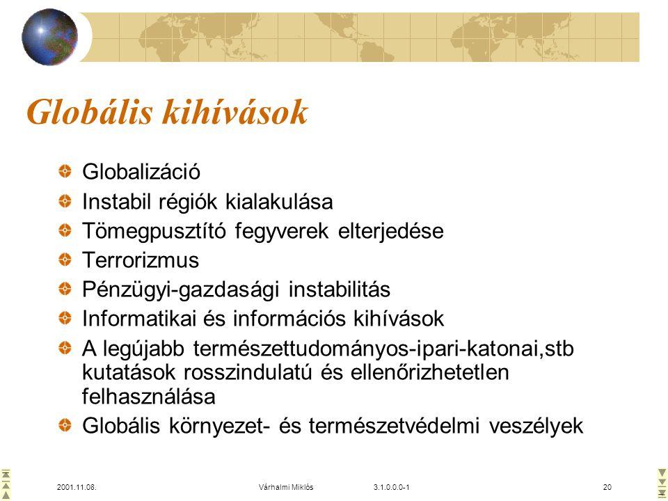 Globális kihívások Globalizáció Instabil régiók kialakulása
