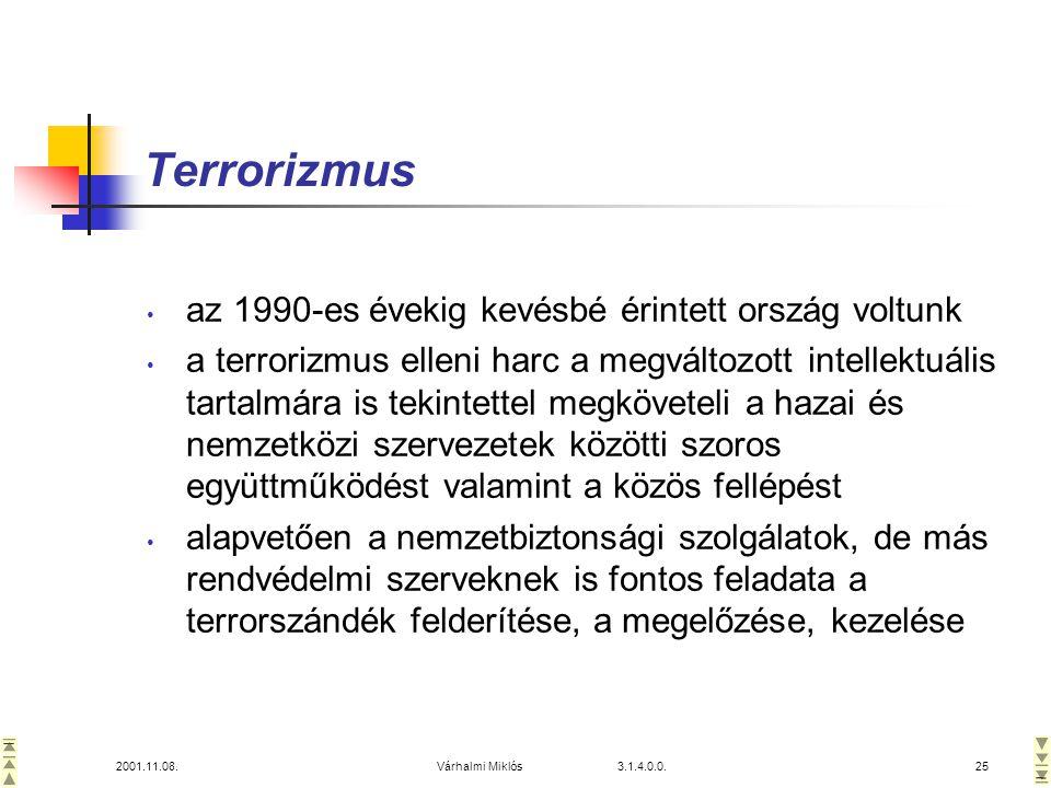 Terrorizmus az 1990-es évekig kevésbé érintett ország voltunk