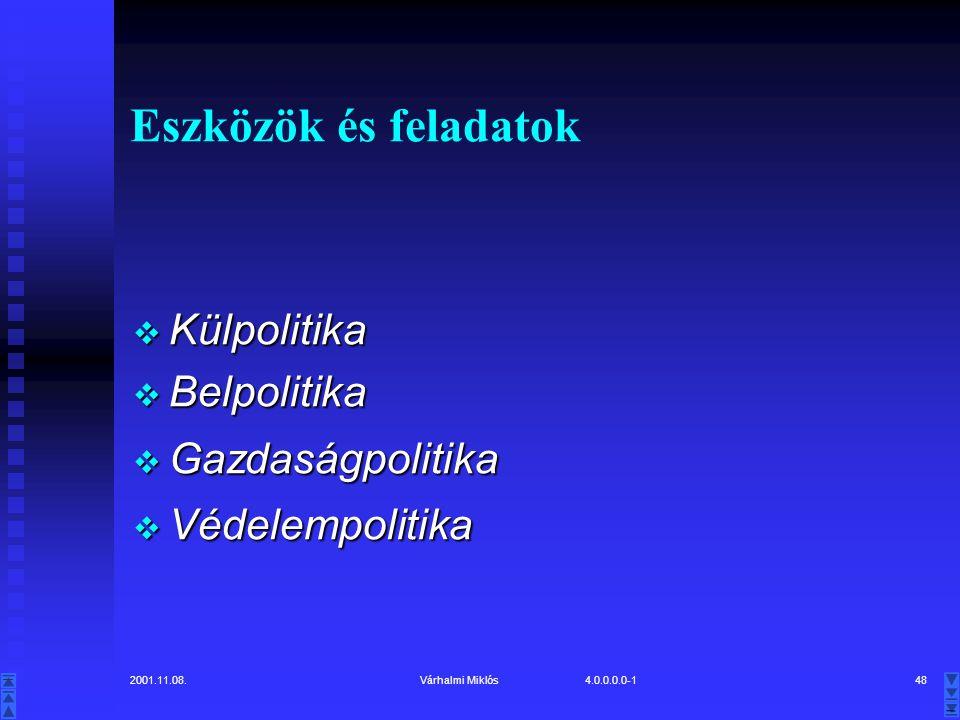 Eszközök és feladatok Külpolitika Belpolitika Gazdaságpolitika