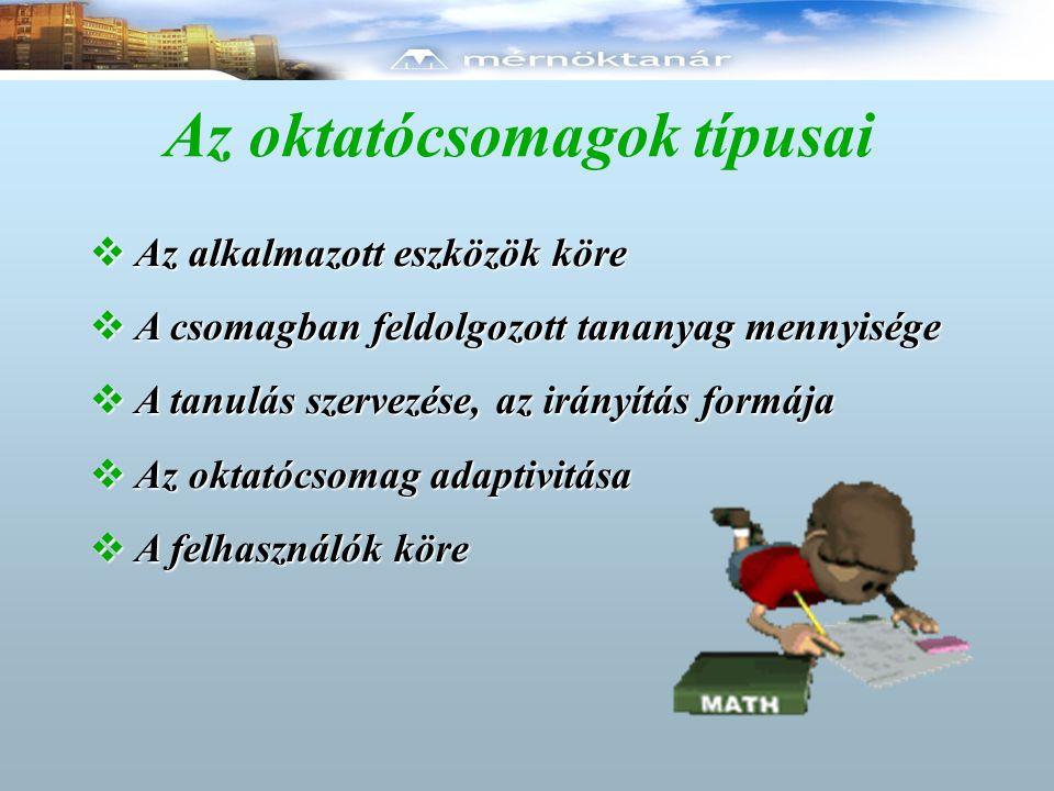Az oktatócsomagok típusai