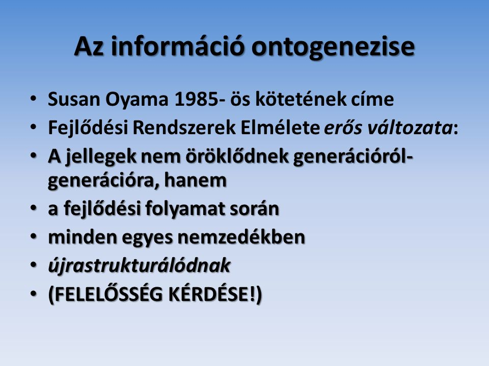 Az információ ontogenezise