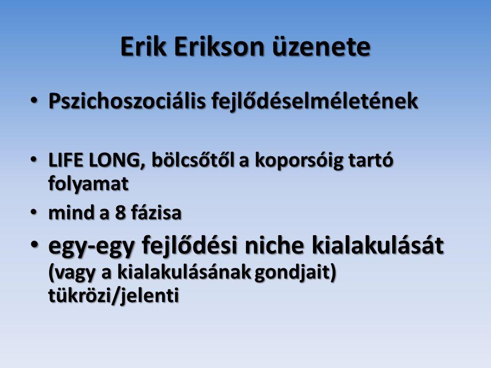 Erik Erikson üzenete Pszichoszociális fejlődéselméletének. LIFE LONG, bölcsőtől a koporsóig tartó folyamat.