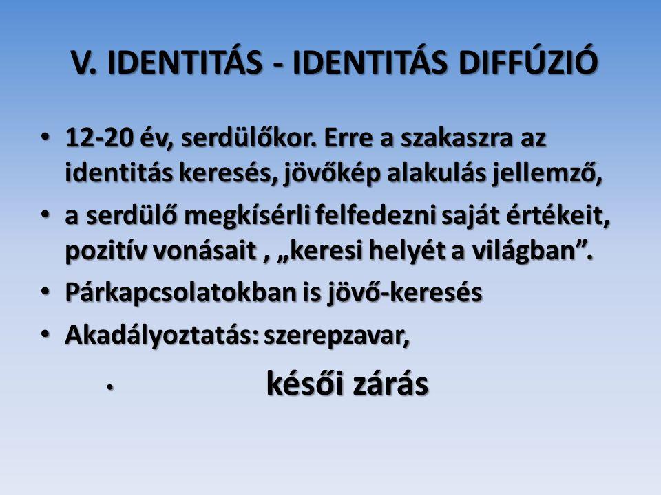 V. IDENTITÁS - IDENTITÁS DIFFÚZIÓ