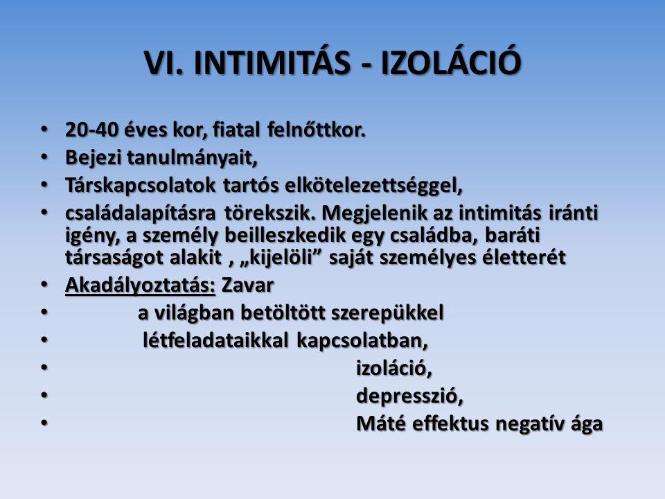 VI. INTIMITÁS - IZOLÁCIÓ