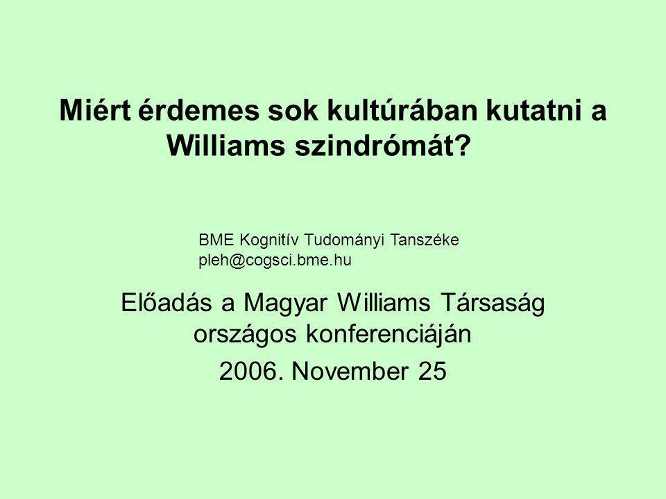 Miért érdemes sok kultúrában kutatni a Williams szindrómát
