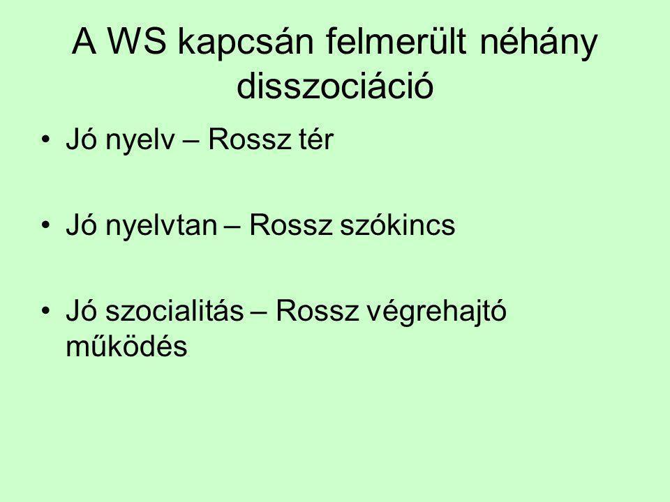 A WS kapcsán felmerült néhány disszociáció