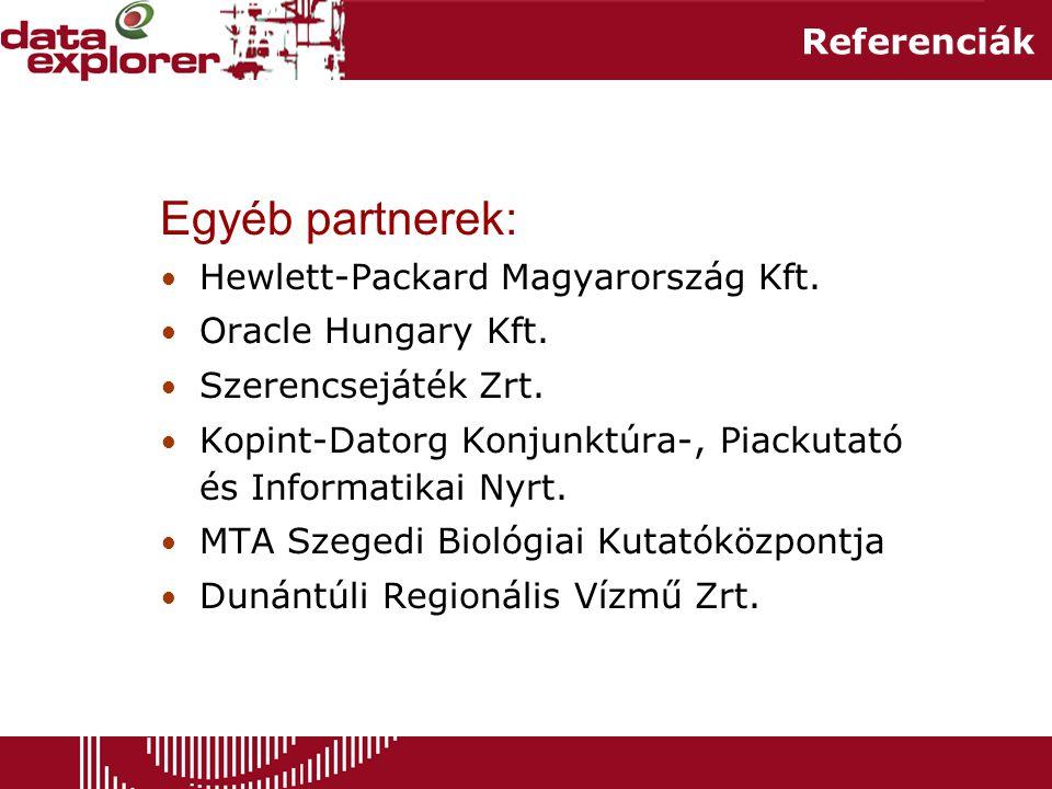 Egyéb partnerek: Referenciák Hewlett-Packard Magyarország Kft.