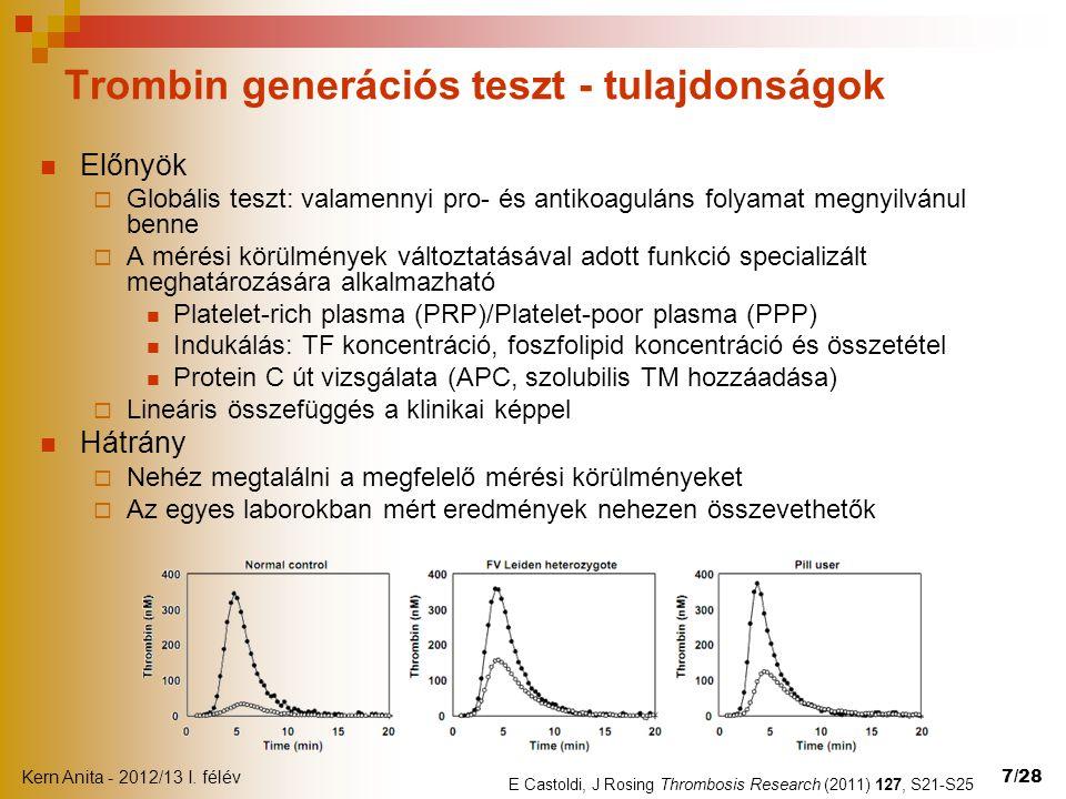 Trombin generációs teszt - tulajdonságok