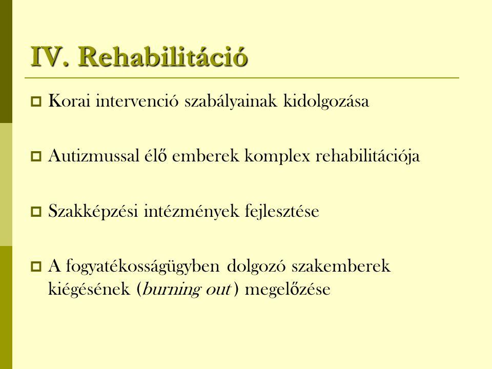 IV. Rehabilitáció Korai intervenció szabályainak kidolgozása