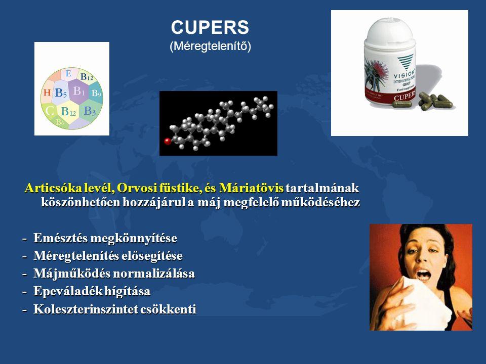 CUPERS (Méregtelenítő) Articsóka levél, Orvosi füstike, és Máriatövis tartalmának köszönhetően hozzájárul a máj megfelelő működéséhez.
