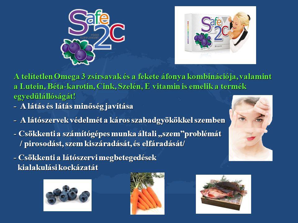 A telítetlen Omega 3 zsírsavak és a fekete áfonya kombinációja, valamint a Lutein, Béta-karotin, Cink, Szelén, E vitamin is emelik a termék egyedülállóságát!