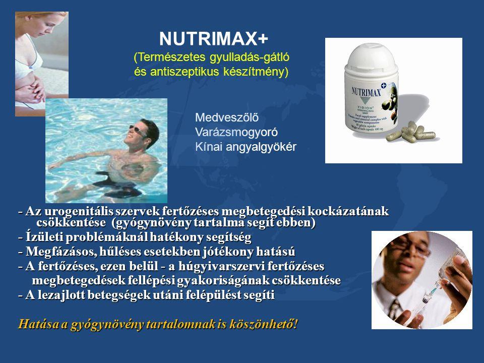 NUTRIMAX+ (Természetes gyulladás-gátló. és antiszeptikus készítmény) Medveszőlő. Varázsmogyoró. Kínai angyalgyökér.
