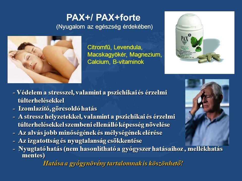 PAX+/ PAX+forte (Nyugalom az egészség érdekében) Citromfű, Levendula, Macskagyökér, Magnezium, Calcium, B-vitaminok.
