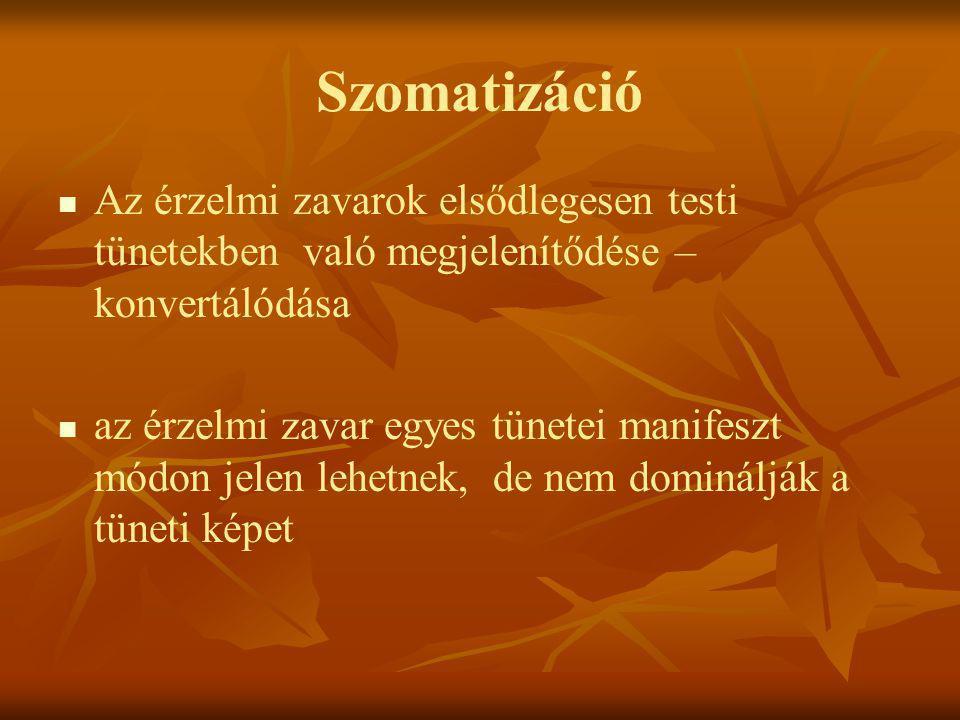 Szomatizáció Az érzelmi zavarok elsődlegesen testi tünetekben való megjelenítődése – konvertálódása.