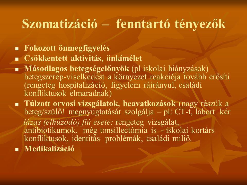 Szomatizáció – fenntartó tényezők