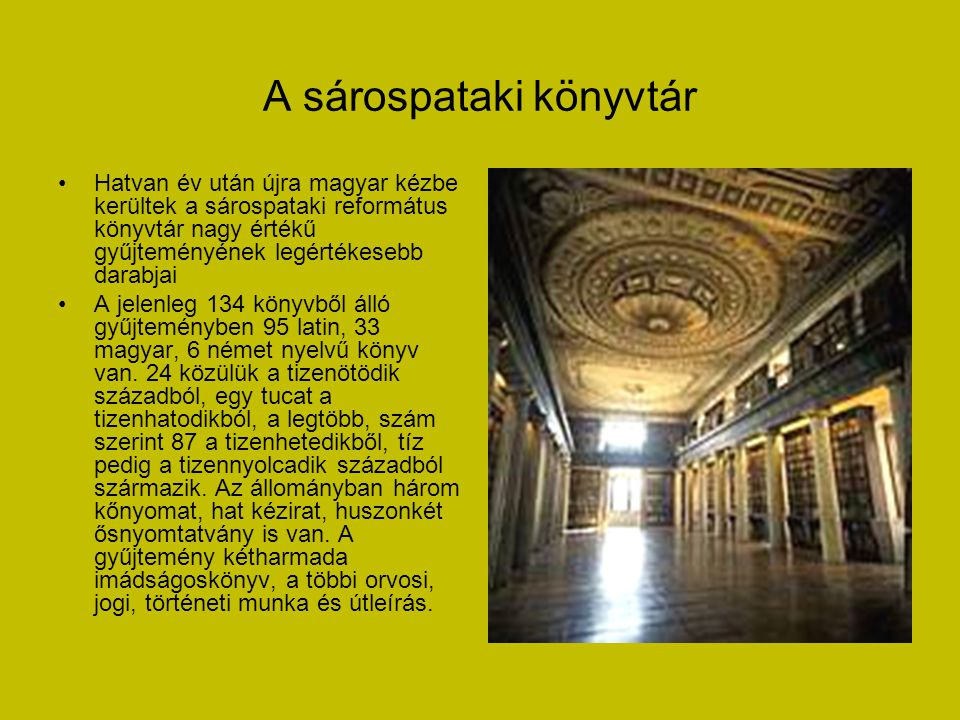 A sárospataki könyvtár