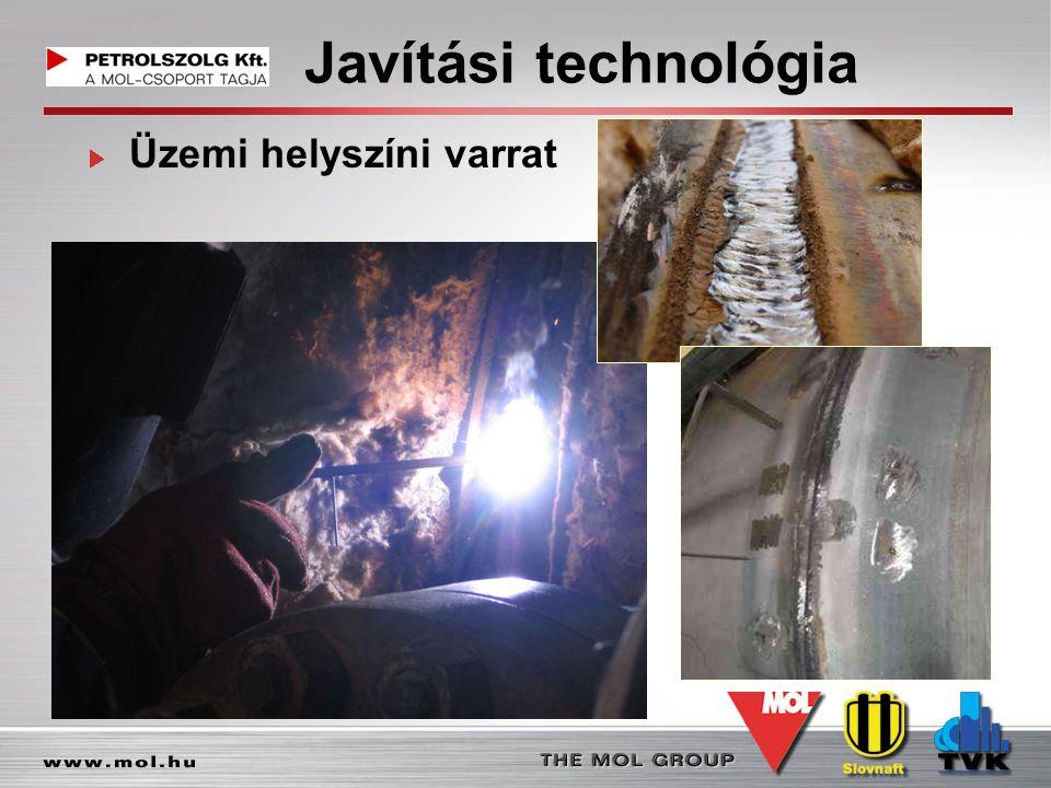 Javítási technológia Üzemi helyszíni varrat
