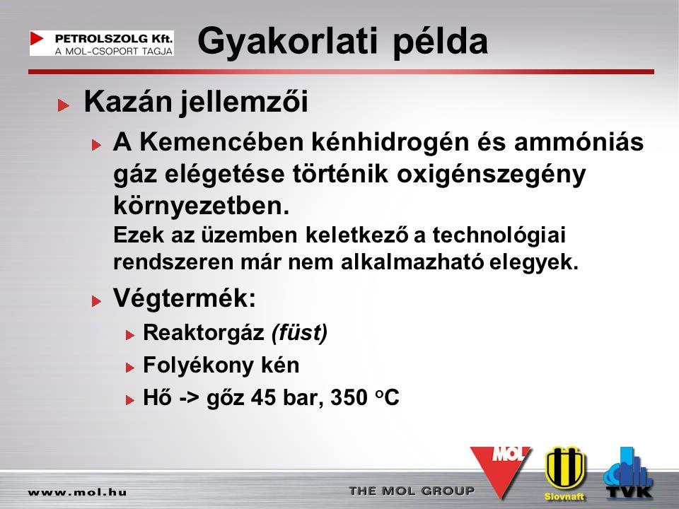 Gyakorlati példa Kazán jellemzői