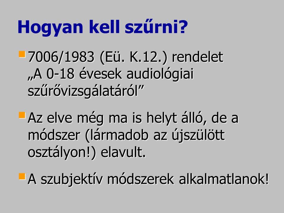 """Hogyan kell szűrni 7006/1983 (Eü. K.12.) rendelet """"A 0-18 évesek audiológiai szűrővizsgálatáról"""