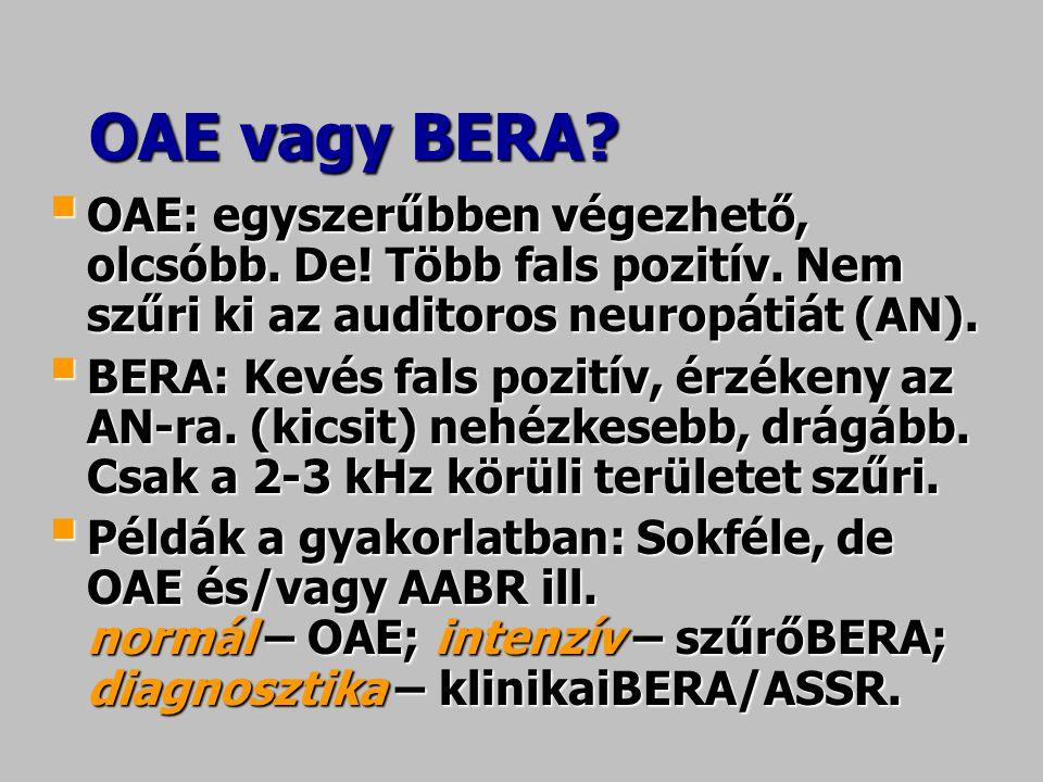 OAE vagy BERA OAE: egyszerűbben végezhető, olcsóbb. De! Több fals pozitív. Nem szűri ki az auditoros neuropátiát (AN).