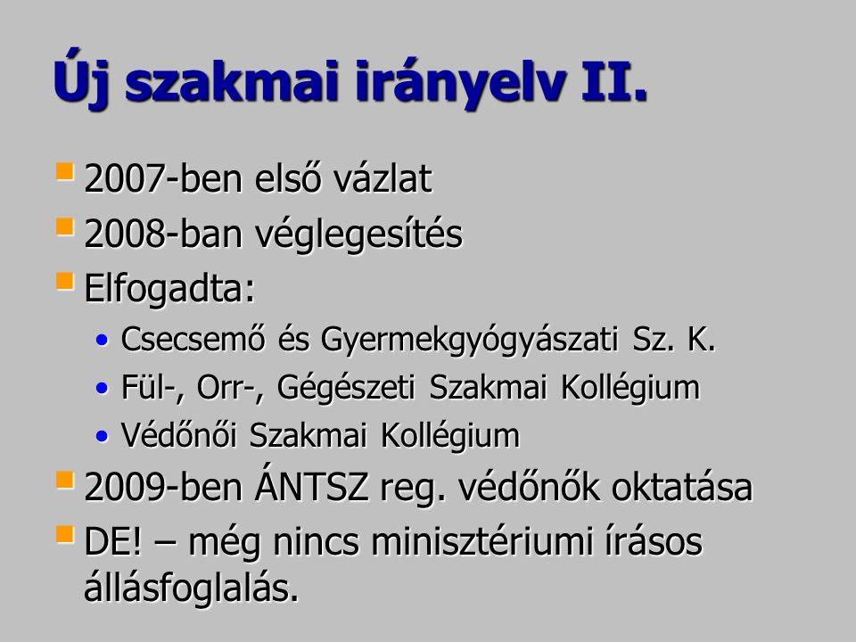 Új szakmai irányelv II. 2007-ben első vázlat 2008-ban véglegesítés