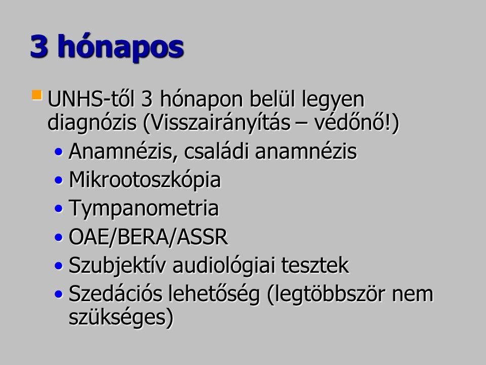 3 hónapos UNHS-től 3 hónapon belül legyen diagnózis (Visszairányítás – védőnő!) Anamnézis, családi anamnézis.