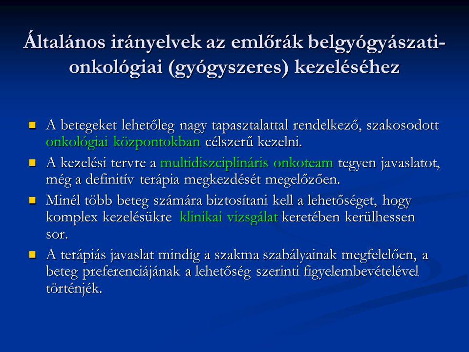 Általános irányelvek az emlőrák belgyógyászati-onkológiai (gyógyszeres) kezeléséhez