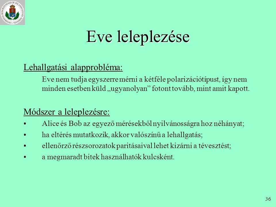 Eve leleplezése Lehallgatási alapprobléma: Módszer a leleplezésre:
