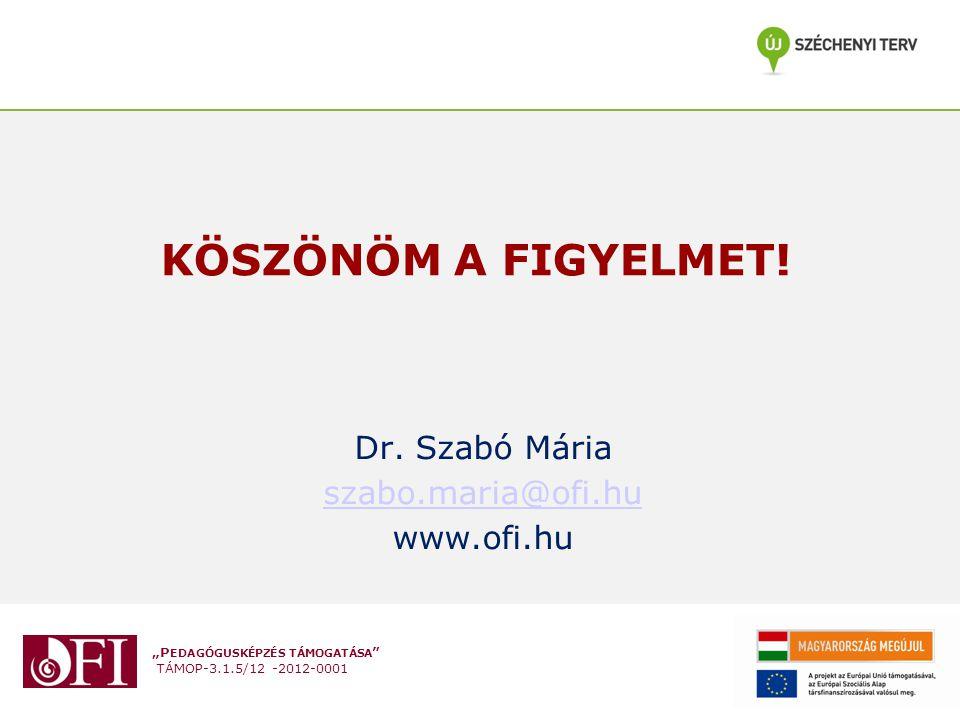 Dr. Szabó Mária szabo.maria@ofi.hu www.ofi.hu