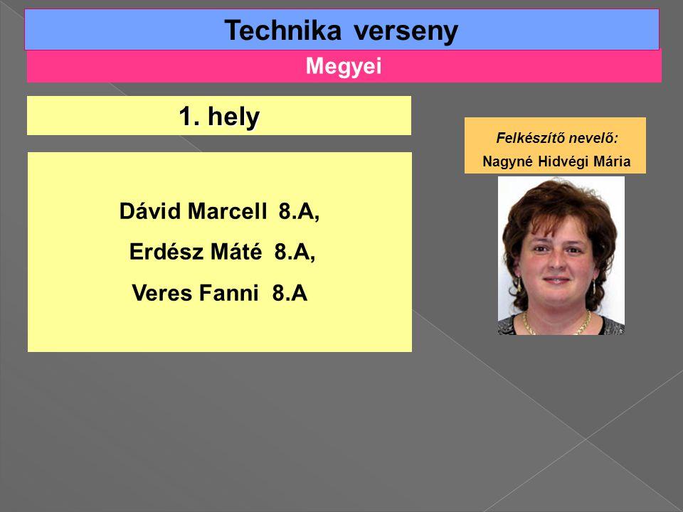 Technika verseny 1. hely Megyei Felkészítő nevelő: Dávid Marcell 8.A,