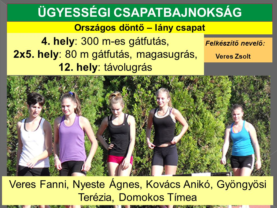 ÜGYESSÉGI CSAPATBAJNOKSÁG Országos döntő – lány csapat