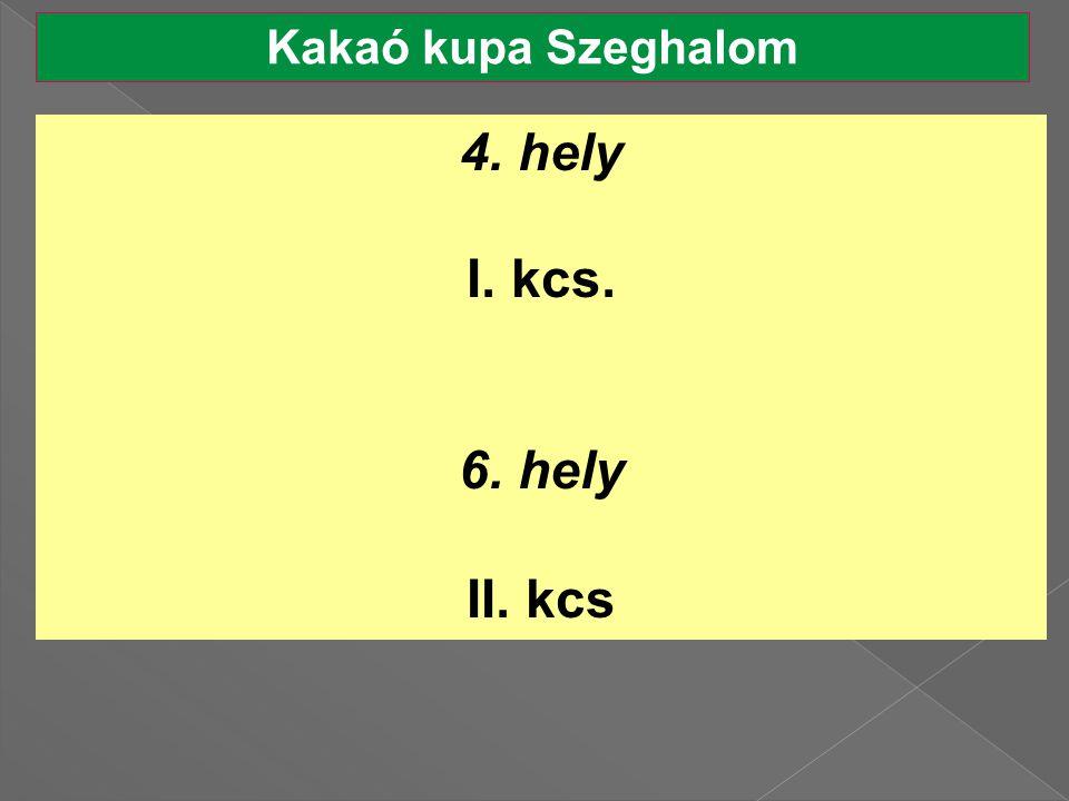 Kakaó kupa Szeghalom 4. hely I. kcs. 6. hely II. kcs