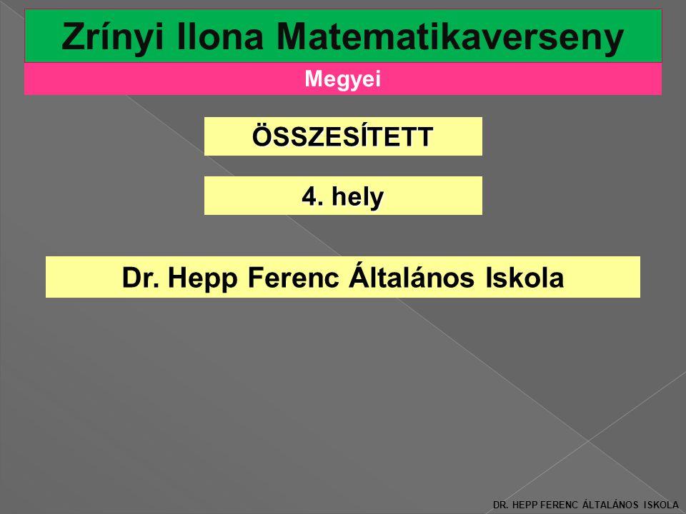 Zrínyi Ilona Matematikaverseny Dr. Hepp Ferenc Általános Iskola