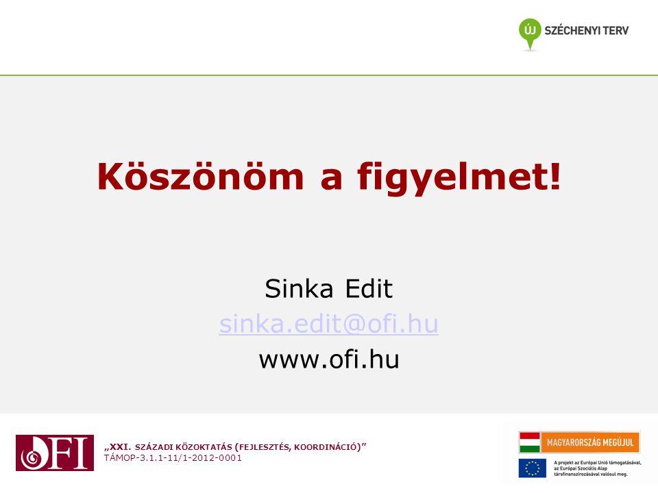 Köszönöm a figyelmet! Sinka Edit sinka.edit@ofi.hu www.ofi.hu