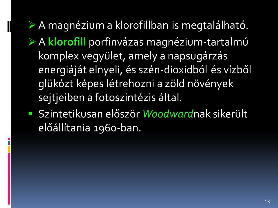 A magnézium a klorofillban is megtalálható.