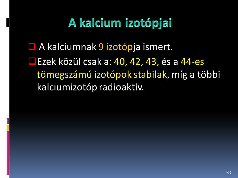 A kalcium izotópjai A kalciumnak 9 izotópja ismert.