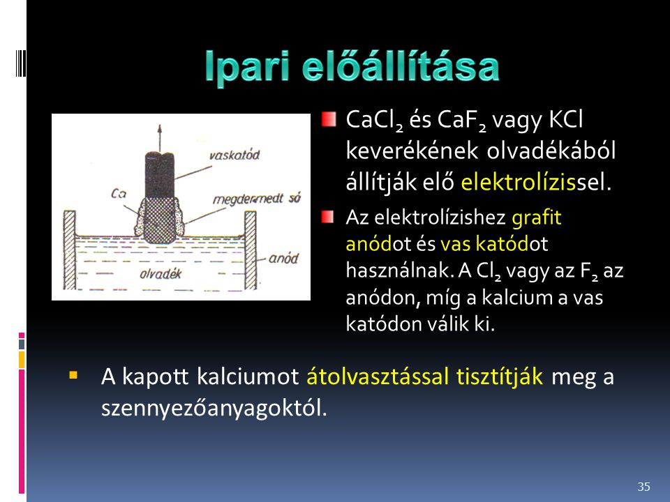Ipari előállítása CaCl2 és CaF2 vagy KCl keverékének olvadékából állítják elő elektrolízissel.