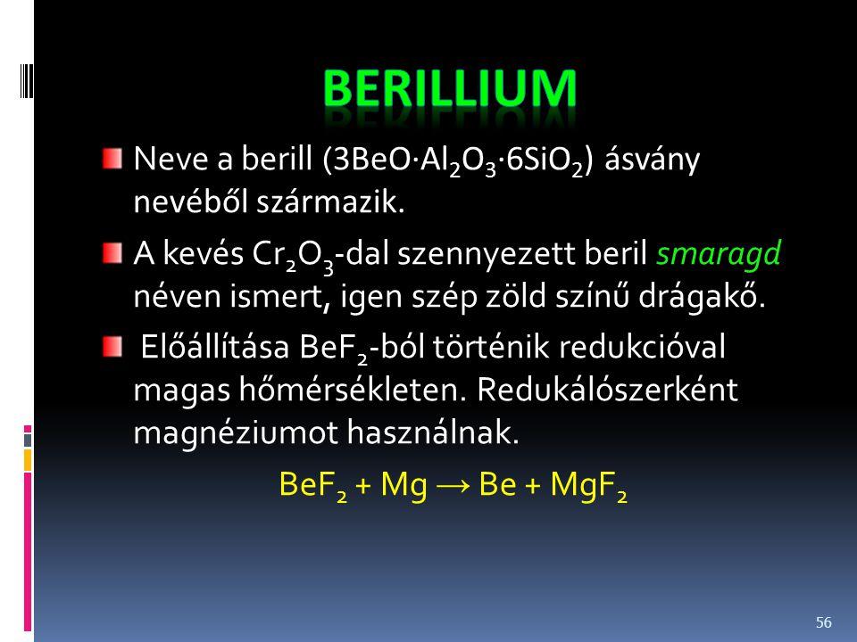 berillium Neve a berill (3BeO·Al2O3·6SiO2) ásvány nevéből származik.
