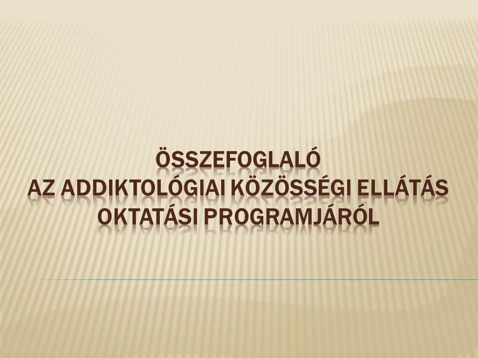 ÖSSZEFOGLALÓ AZ addiktológiai közösségi ellátás oktatási programjÁRÓL