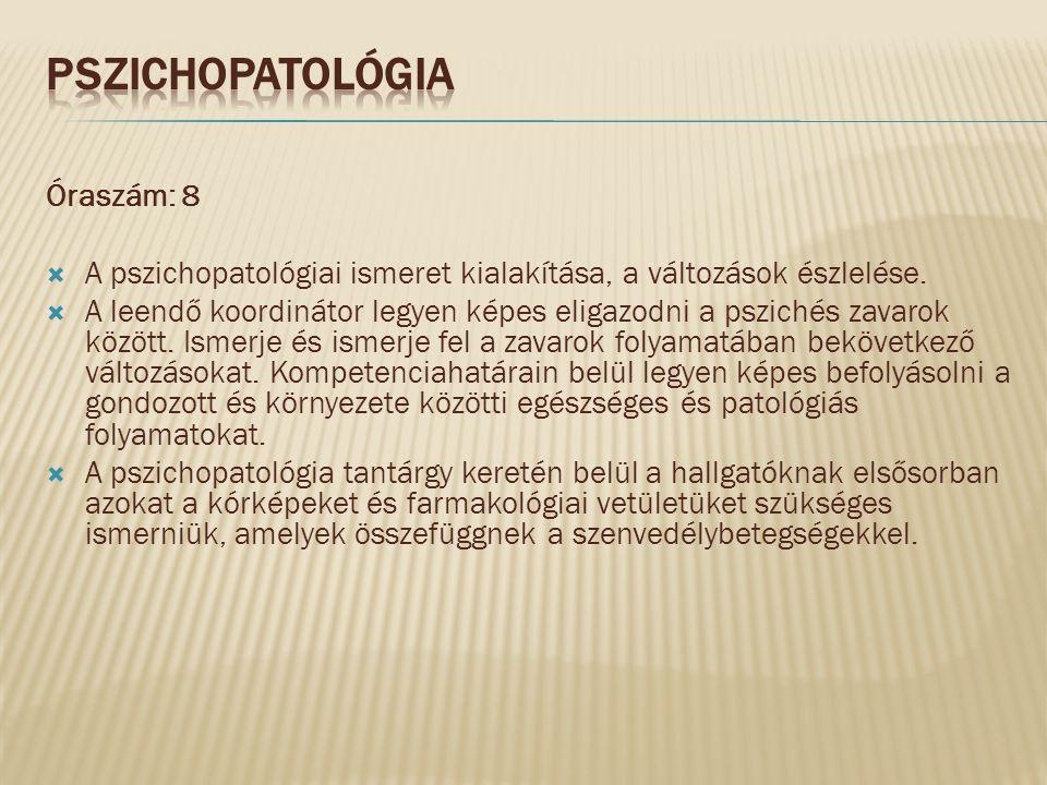 Pszichopatológia Óraszám: 8