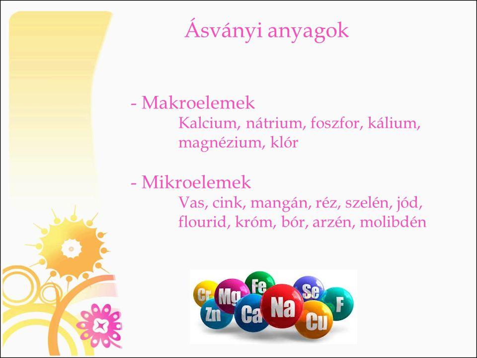 Ásványi anyagok - Makroelemek - Mikroelemek