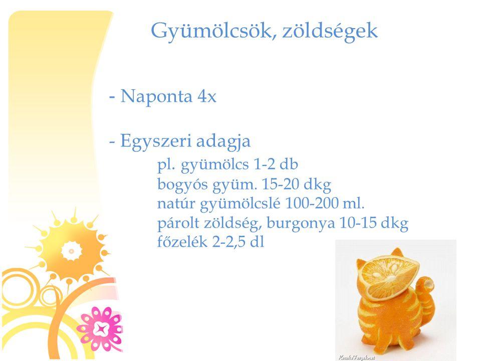 Gyümölcsök, zöldségek - Naponta 4x Egyszeri adagja pl. gyümölcs 1-2 db