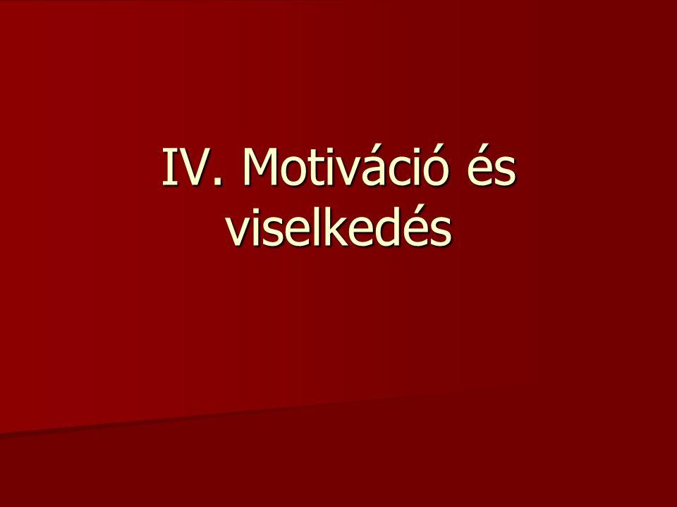 IV. Motiváció és viselkedés