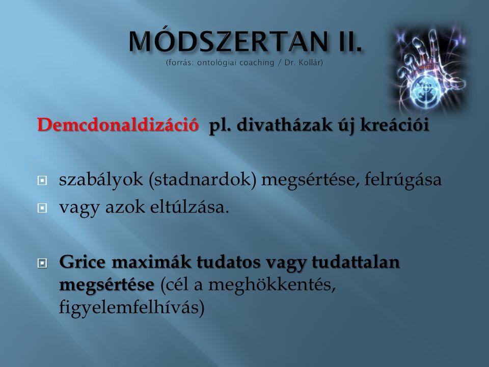 MÓDSZERTAN II. (forrás: ontológiai coaching / Dr. Kollár)