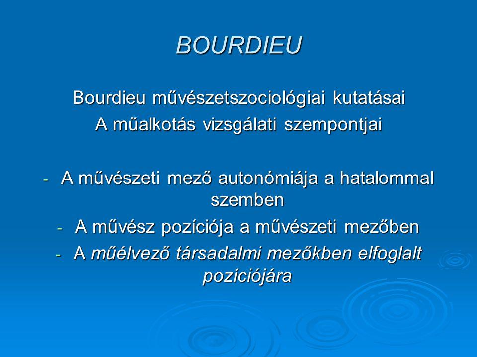 BOURDIEU Bourdieu művészetszociológiai kutatásai