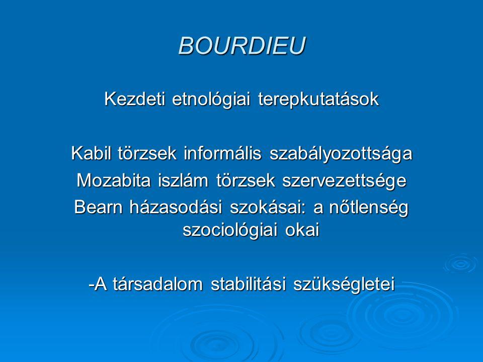 BOURDIEU Kezdeti etnológiai terepkutatások