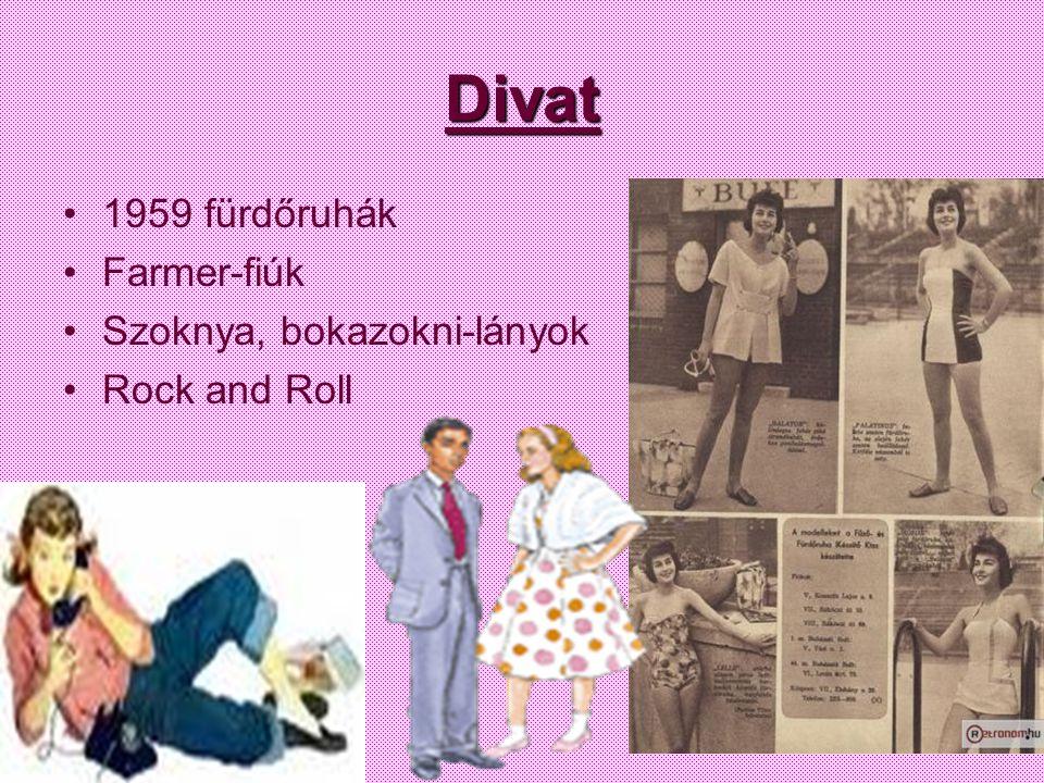 Divat 1959 fürdőruhák Farmer-fiúk Szoknya, bokazokni-lányok