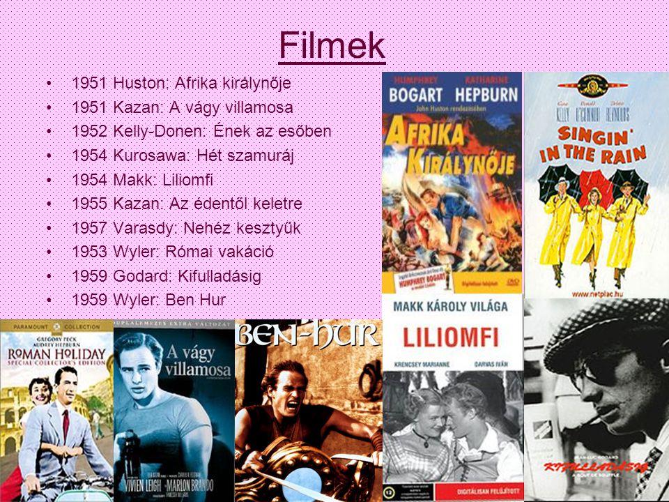 Filmek 1951 Huston: Afrika királynője 1951 Kazan: A vágy villamosa