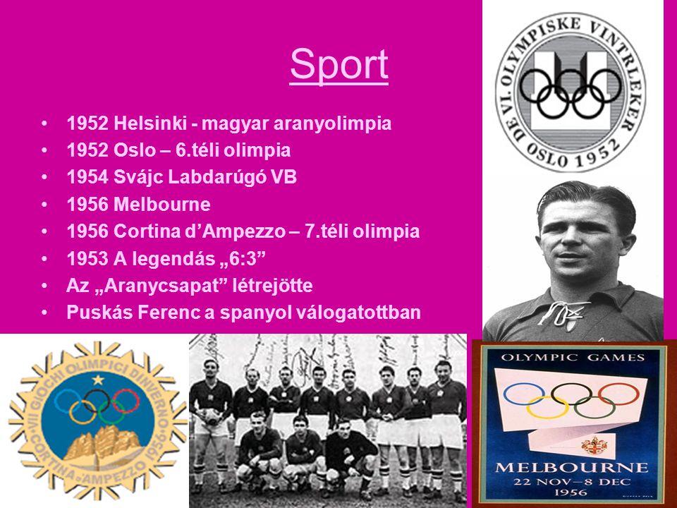 Sport 1952 Helsinki - magyar aranyolimpia 1952 Oslo – 6.téli olimpia